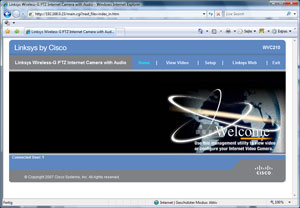 Setup Screen der WVC210 - wenn die IP Installation geklappt hat