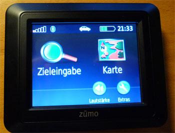 Garmin Zumo Hauptbildschirm
